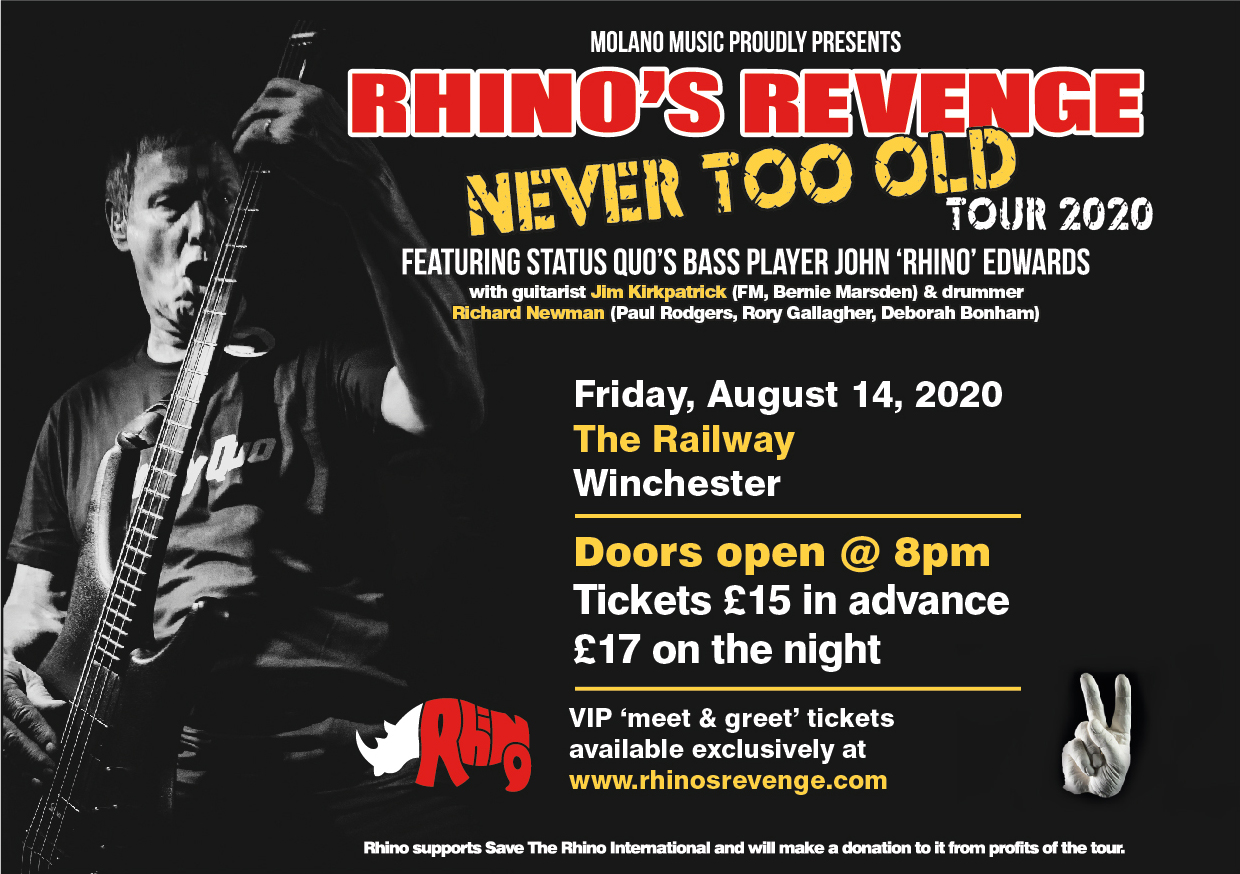RHINO 2020 THE RAILWAY TOUR POSTER